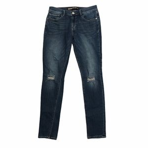 Express Skinny Ripped Dark Wash Jeans